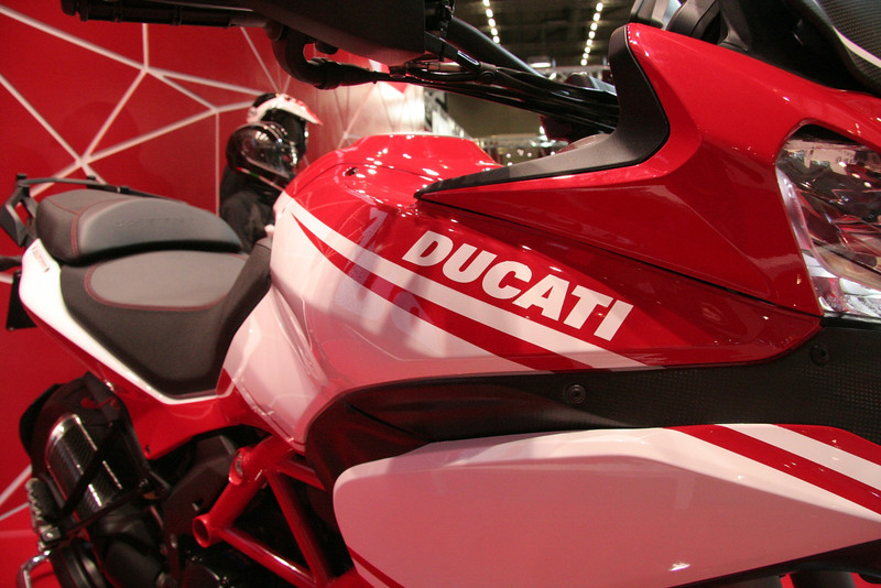 7/10: Launch of the 2013 Ducati motorcycle range, including the new updated Multistrada 1200 Pikes Peak edition, at the Intermot International Motorcycle Show in Cologne, Germany, Oct 2012.