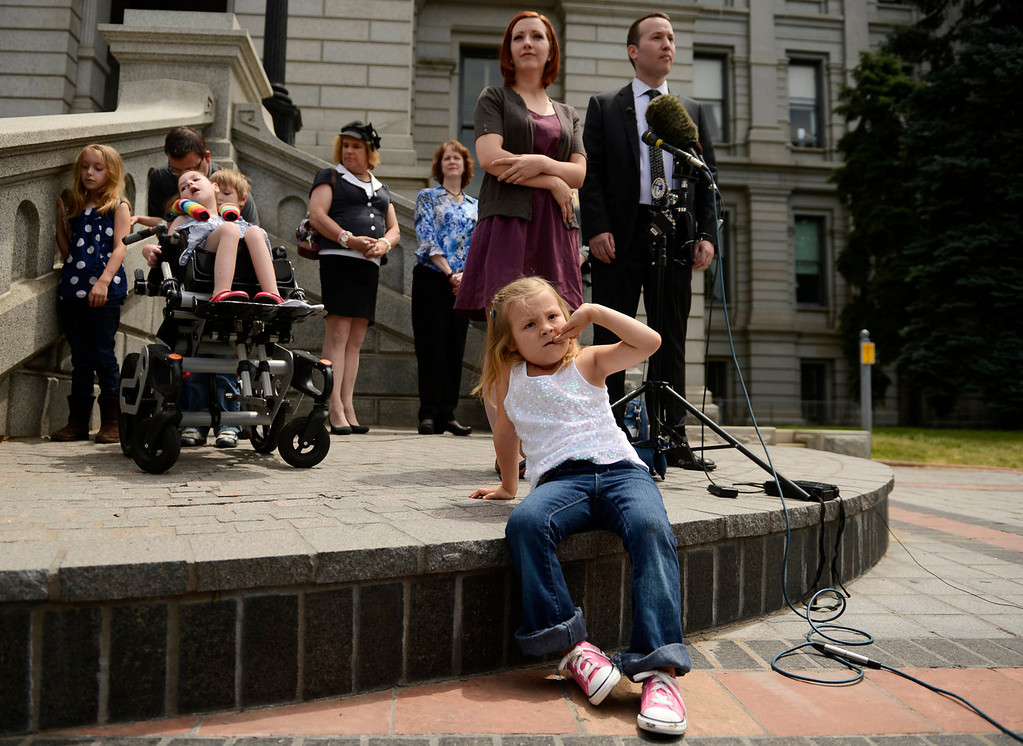 . Six-year-old Coy Mathis was front and center during a press conference on the steps of the Colorado State Capitol to announce that the Colorado Civil Rights Division has ruled in favor of Coy Mathis, whose school had barred her from using the girls� bathroom at her elementary school because she is transgender, June 24, 2013. Coy was labeled male at birth, but has always known that she is a girl, which she has expressed since she was 18 months old.(Photo By RJ Sangosti/The Denver Post)
