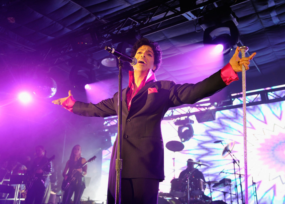 . Prince performs at the Samsung Galaxy presents Prince and A Tribe Called Quest at SXSW on March 16, 2013 in Austin, Texas.  (Photo by John Sciulli/Getty Images for Samsung)