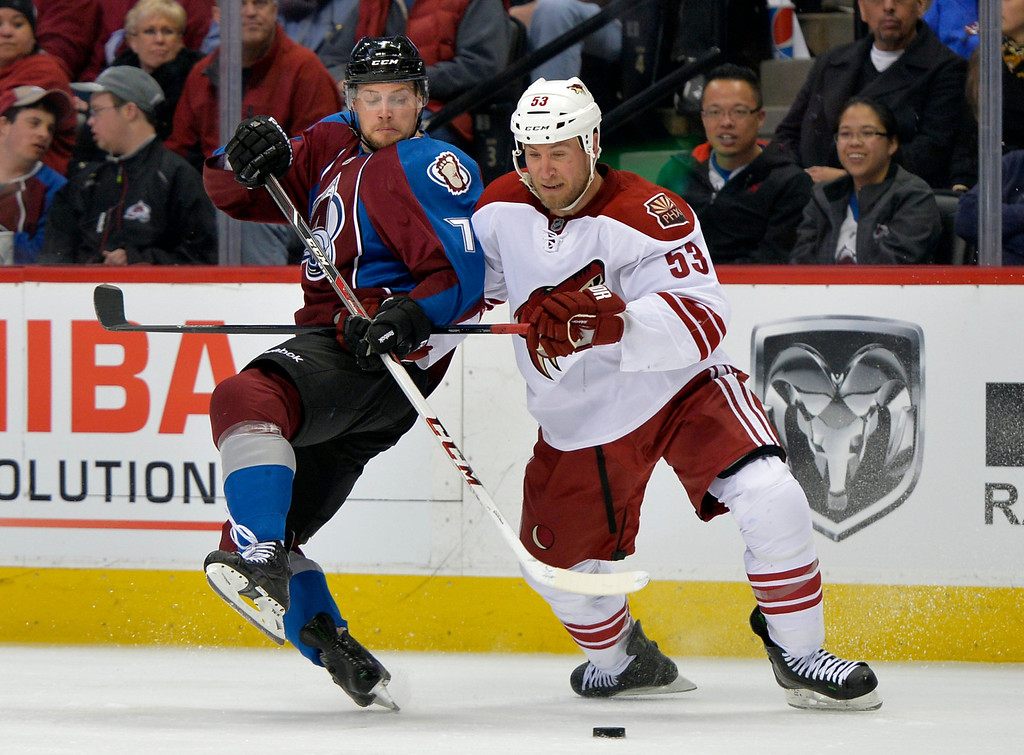 . Phoenix Coyotes defenseman Derek Morris (53) tangles with Colorado Avalanche center John Mitchell (7) during the third period of an NHL hockey game on Friday, Feb. 28, 2014, in Denver. (AP Photo/Jack Dempsey)