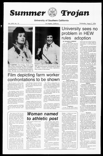 Summer Trojan, Vol. 67, No. 13, August 07, 1974