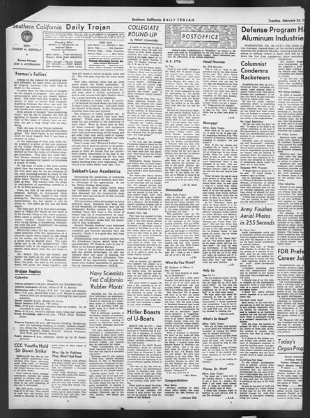 Daily Trojan, Vol. 32, No. 88, February 25, 1941