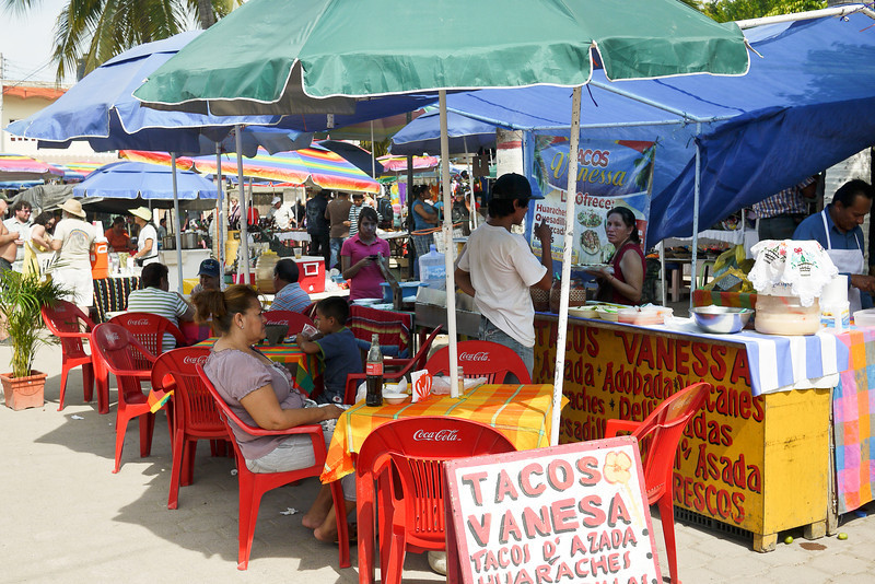 Taco stand at La Penita market.