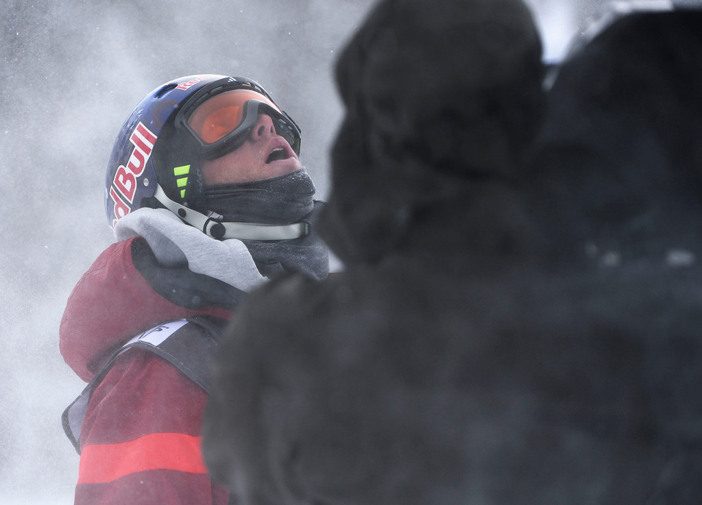 . Russell Henshaw, USA, wasn\'t happy with his second run at the U.S. Grand Prix slope style finals at the Copper Mountain ski area Saturday afternoon, December 21, 2013, but finished third in the competition.  (Photo By Andy Cross / The Denver Post)