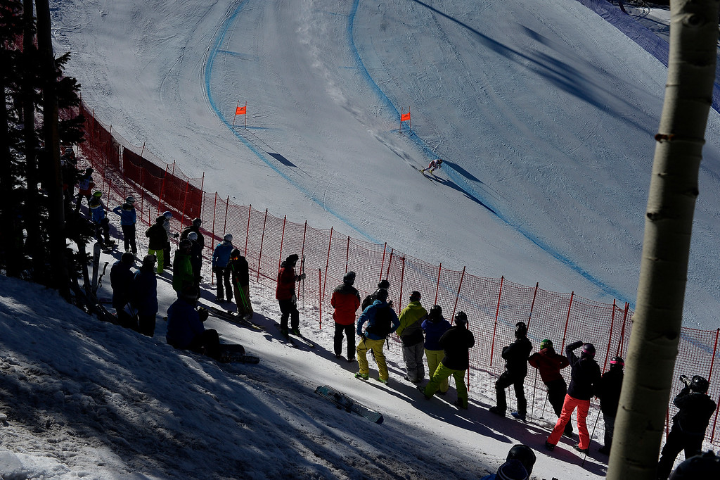 . BEAVER CREEK, CO - FEBRUARY 09: Nicole Hosp of Austria passes in front of fans during the men\'s alpine combined final. FIS Alpine World Ski Championships 2015 on Monday, February 9, 2015. (Photo by AAron Ontiveroz/The Denver Post)