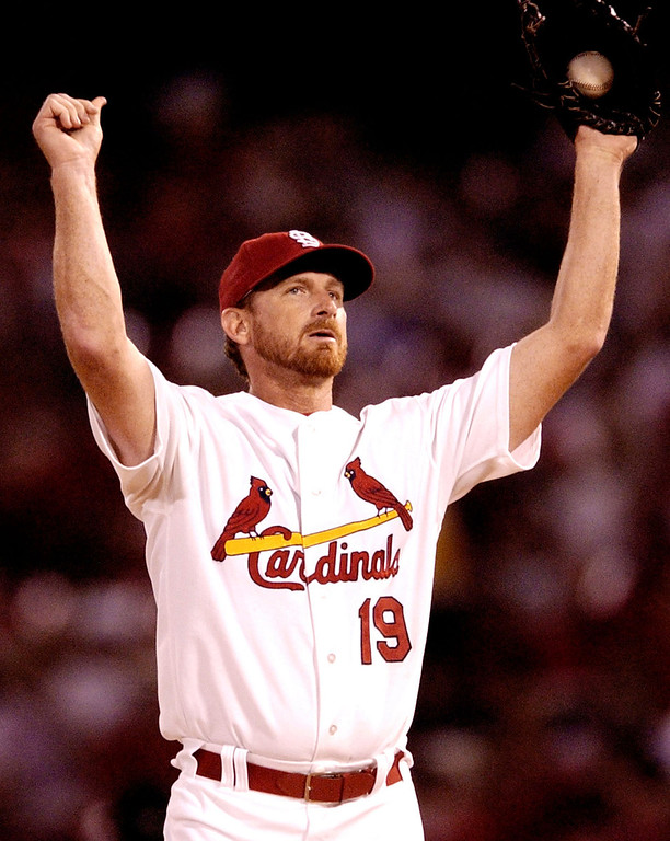 . WOODY WILLIAMS -- St. Louis Cardinals starting pitcher Woody Williams streaches on the mound after walking Chris Snyder in the second inning against the Arizona Diamondbacks in St. Louis on Sept. 17, 2004. (AP Photo/James A. Finley)