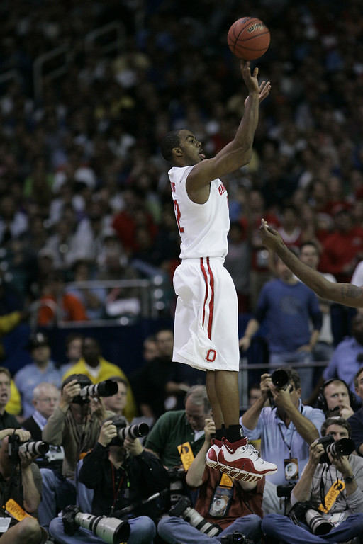 . Ohio State\'s Ron Lewis take a jump shot during a  Final Four semifinal basketball game against Georgetown at the Georgia Dome in Atlanta, Saturday, March 31, 2007. (AP Photo/Eric Gay)