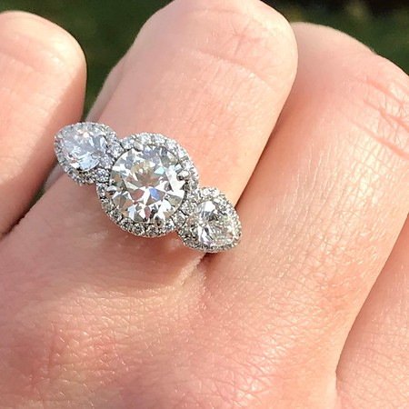1.52ct Old European Cut and Pear Trilogy Ring, AGS I VS2