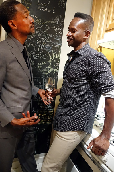 Bohemian Club afterglow party at Margaret Mitchell's - Mali musician Yacine Kouyate, on left
