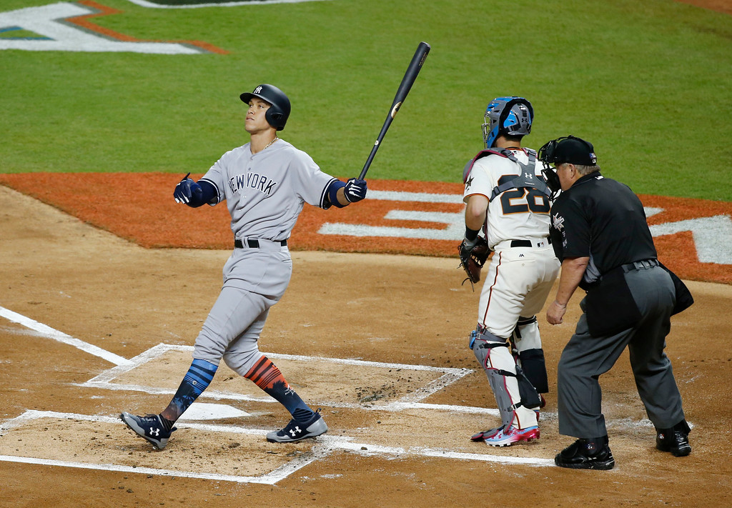 . American League\'s New York Yankees Aaron Judge (99) strikes out in the first inning during the MLB baseball All-Star Game, Tuesday, July 11, 2017, in Miami. (AP Photo/Wilfredo Lee)