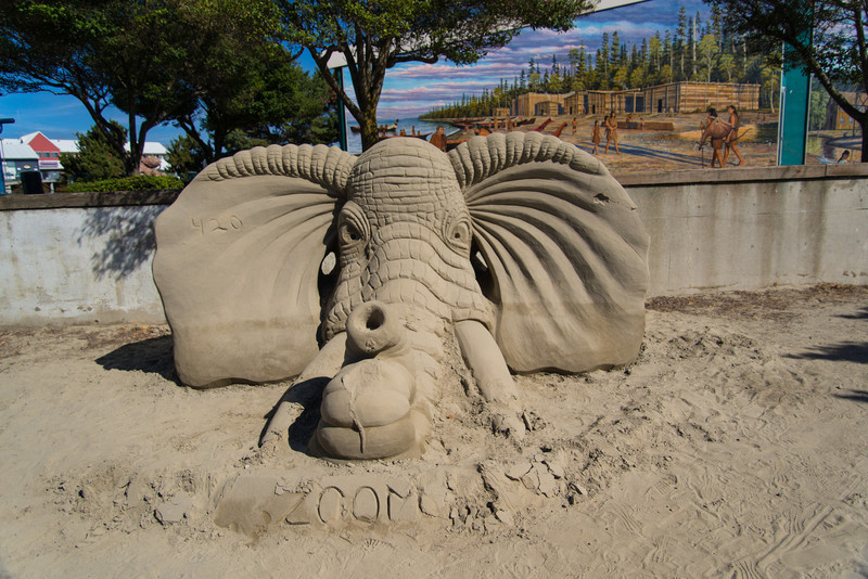 Sand sculptures on the beach at Port Angeles