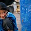 young girl at shanti stupa monestrey, leh ladakh