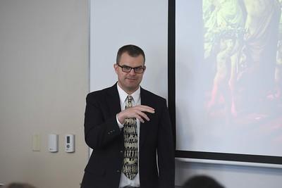 Ryan Stitt speaks in Dr. Thorndike's Honors class