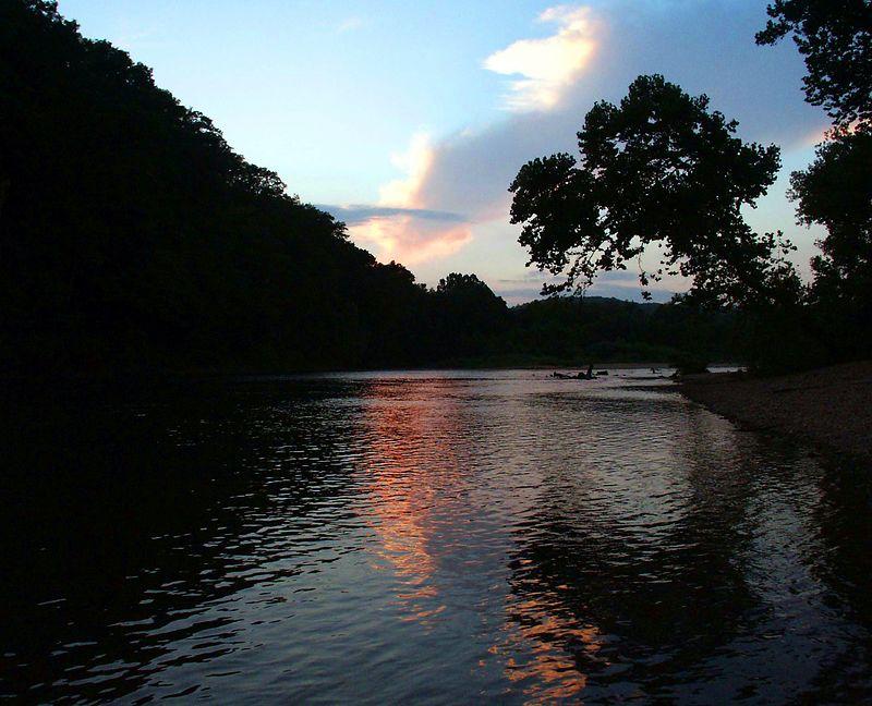 Dusk on Current River. Missouri Ozarks.
