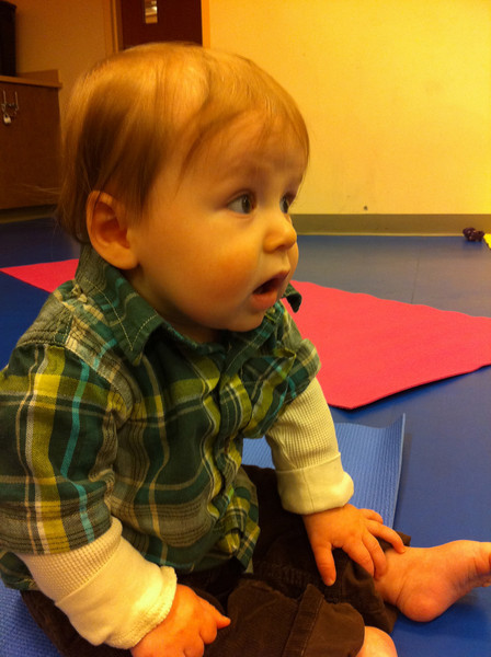 Luca at his music class.