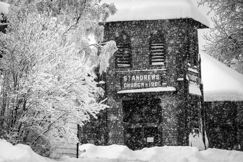 St. Andrews Church during winter in Dawson City, Yukon, Canada