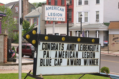 Blue Cap Award for Andrew Leibenguth, shown on sign, American Legion, Tamaqua