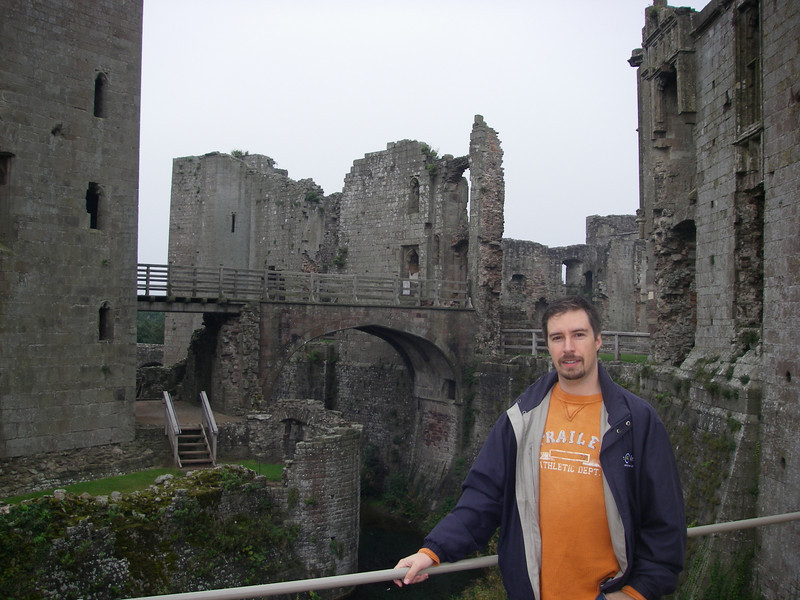 Standing over the moat at Castle Rhaglan