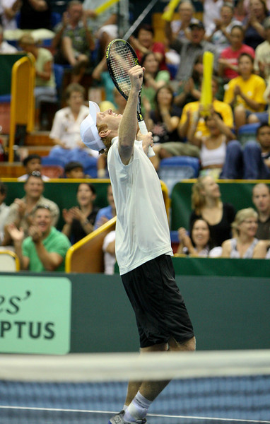 11 April 2008 Townsville, Qld, Australia - Australia's Chris Guccione celebrates his win over Thailand's Danai Udomchoke in the fist singles rubber of their Davis Cup tie - Photo: Cameron Laird (Ph: 0418 238811)