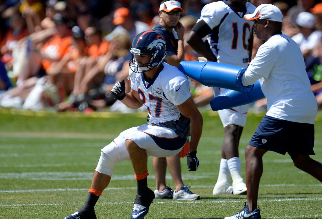 . Denver Broncos WR Eric Decker (87) runs through drills during training camp August 5, 2013 at Dove Valley. (Photo By John Leyba/The Denver Post)