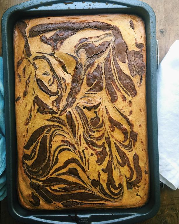 ". <a href=\""http://www.morningjournal.com/lifestyle/20161103/recipe-pumpkin-cream-cheese-brownies\"">Get the recipe for pumpkin cream cheese swirled chocolate brownies</a>, a recipe by Katie Workman. (Katie Workman via AP)"