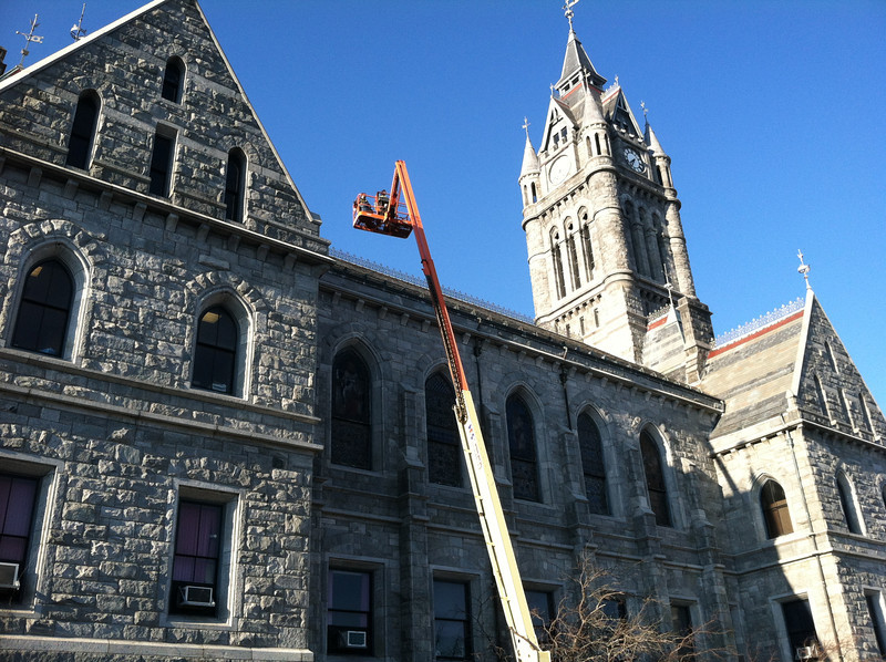 December 13, 2012.  Roof repair at City Hall to stop the leaks that were plaguing some of the spaces used by the library.