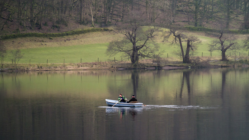 Rowing across the lake