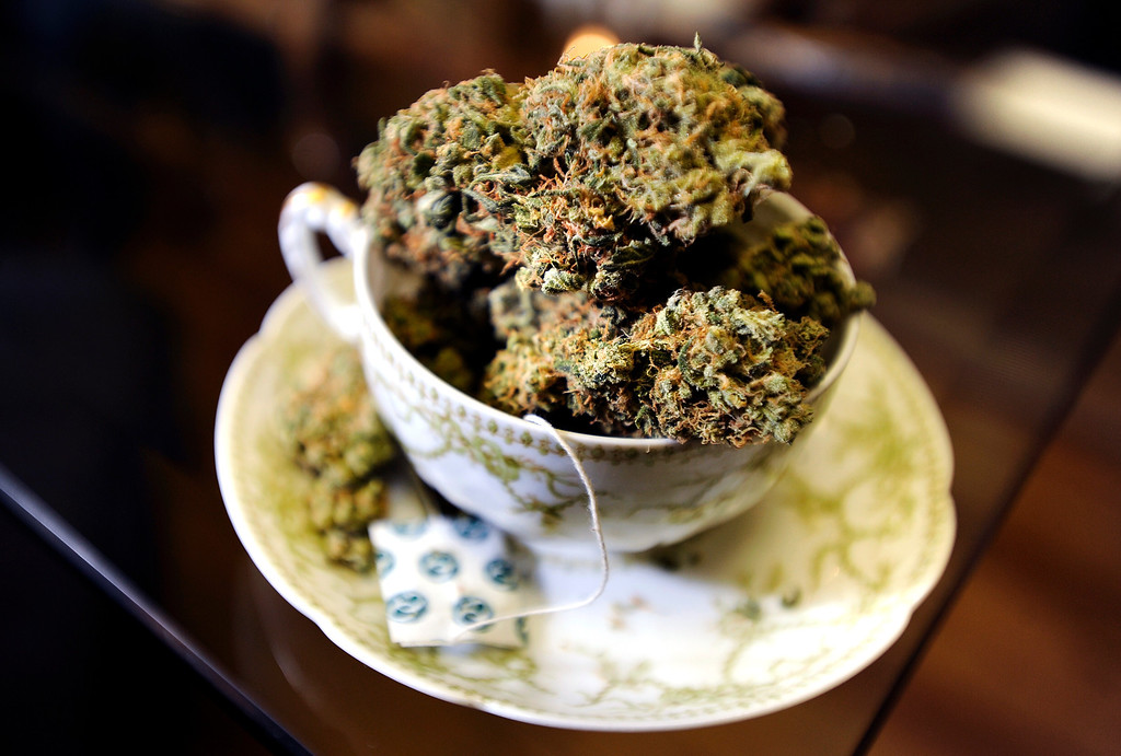 . A tea cup full of marijuana on Wednesday, Jan. 2, at The Hive Co-Op Cannabis Club in Lafayette. Jeremy Papasso/Boulder Daily Camera