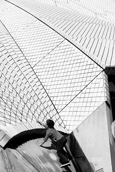 Child Climbing Syndey Operahouse