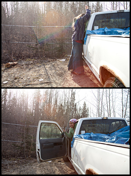 """May 2, 2012. Day 117. Haha, Meka totally beat me in the """"break into Elisha's truck"""" race.   Ta-da! With prayers, see?  With hangars like this - who needs  Keys? Oh that's right... me!  Eagle River, Alaska"""