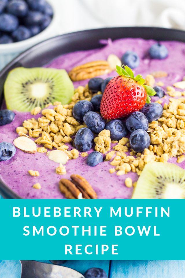 This Blueberry Muffin Smoothie Bowl Recipe is made with fresh ingredients and is your perfect breakfast or brunch in the new year. It's delicious and pretty