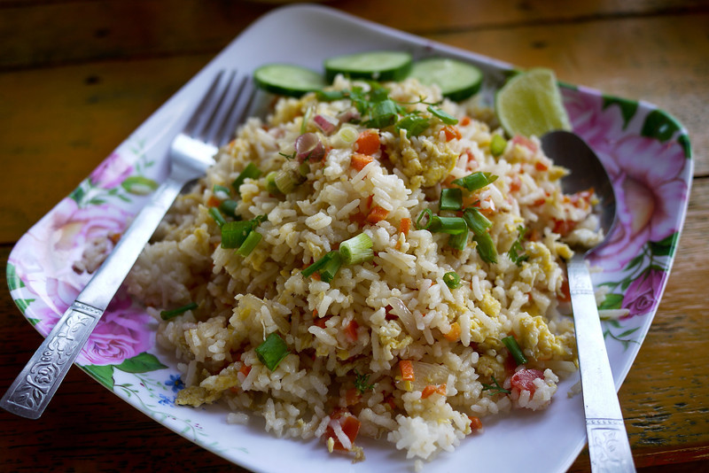 Vegetable fried rice was the easiest thing to order near the Ruby and Kawkathaung caves near Hpa-An, Burma.