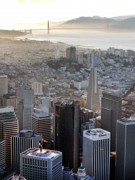 San Francisco, above the waterfront looking toward the Golden Gate.