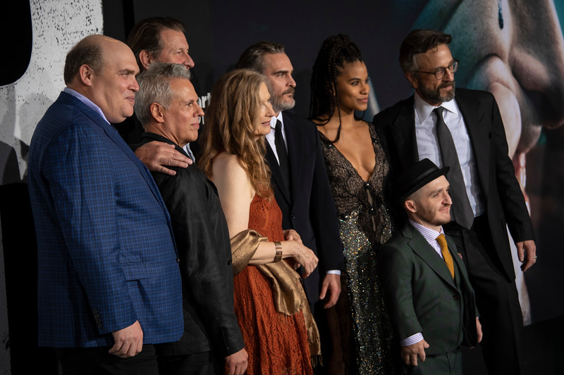 "HOLLYWOOD, CALIFORNIA - SEPTEMBER 28: Glenn Fleshler, Josh Pais, Brett Cullen, Frances Conroy, Joaquin Phoenix, Zazie Beetz, Leigh Gill and Marc Maron attend the premiere of Warner Bros Pictures ""Joker"" on Saturday, September 28, 2019 in Hollywood, California. (Photo by Tom Sorensen/Moovieboy Pictures)"