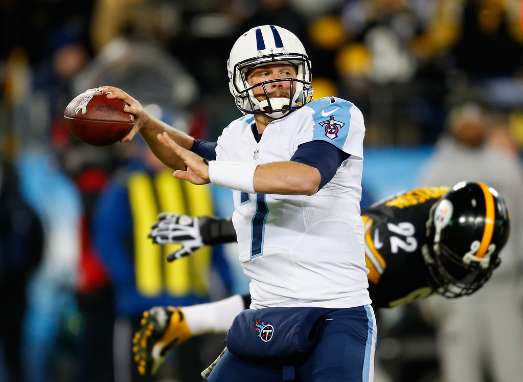 . NASHVILLE, TN - NOVEMBER 17:  Quarterback  Zach Mettenberger #7 of the Tennessee Titans looks to pass against the Pittsburgh Steelers in the first quarter of the game at LP Field on November 17, 2014 in Nashville, Tennessee.  (Photo by Wesley Hitt/Getty Images)