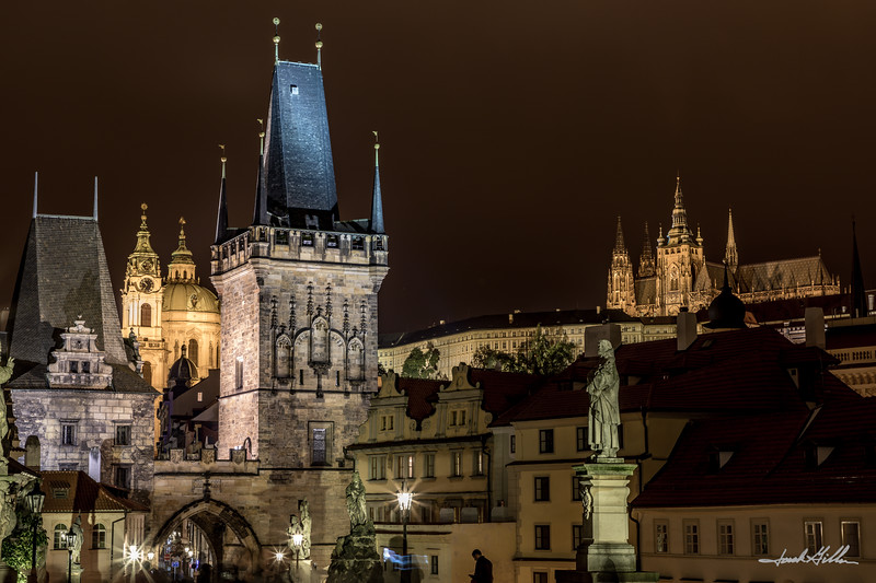 Lights on Old Town Square from Charles Bridge