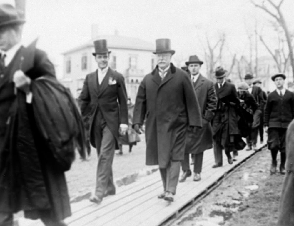 . Former President William Howard Taft walks through the grounds at Harvard University, Cambridge, Mass., 1924. (AP Photo)