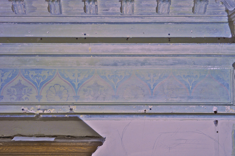 Zustand17/01/2012 Die linke seite ist vor den übermalen gereinigt . Schmutz auf der Rechte Seite unter die übermalungs-schicht sichtbar vor freilegen. Sequenz 2 DSC_0028