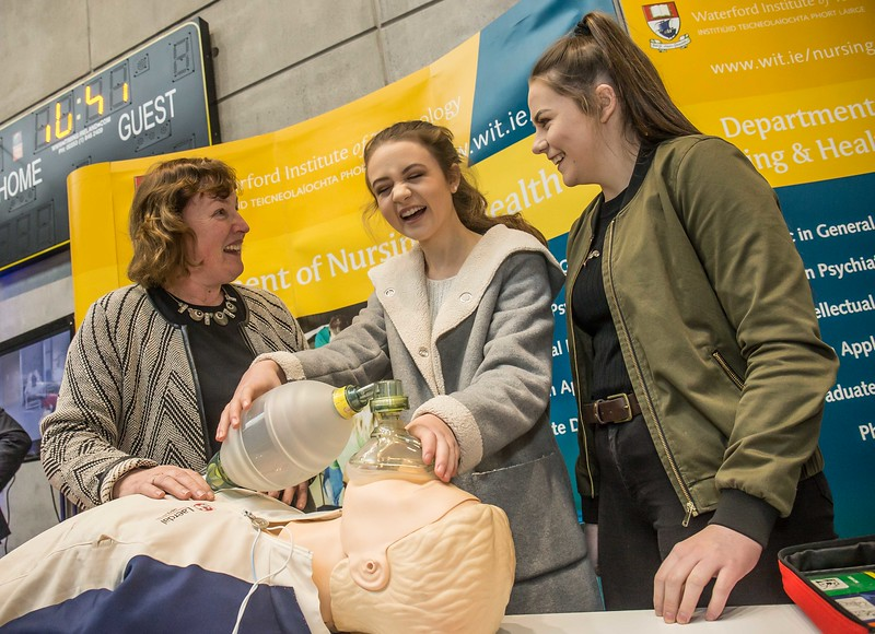 Suzanne Denieffe, tutor, Ciara Trainor and Aine White, Presentation Secondary School, Thurles during the Waterford Institute of Technology Schools' Open Day at the WIT Arena. On Saturday, 20 January, WIT is running another open day, the #StudyatWIT Open Day which will have information available on all courses available across WIT's schools of Lifelong Learning, Humanities, Engineering, Science & Computing, Health Sciences, Business. Picture: Pat Moore