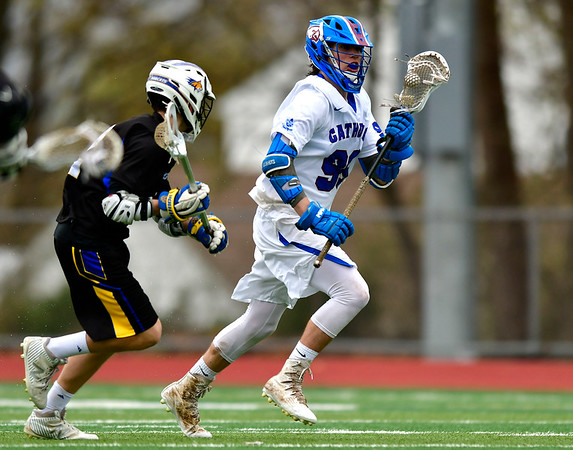 4/20/2019 Mike Orazzi | Staff St. Paul's John Ivers (99) during Saturday's boys lacrosse with Bacon Academy at Bristol Central iHigh School n Bristol
