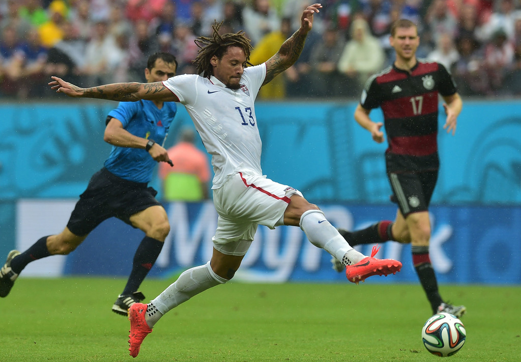 . US midfielder Jermaine Jones (C) plays the ball during a Group G football match between US and Germany at the Pernambuco Arena in Recife during the 2014 FIFA World Cup on June 26, 2014. AFP PHOTO / NELSON  ALMEIDA/AFP/Getty Images