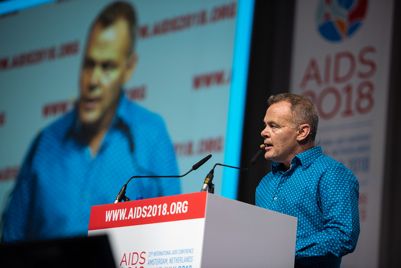 22nd International AIDS Conference (AIDS 2018) Amsterdam, Netherlands.   Copyright: Steve Forrest/Workers' Photos/ IAS  Photo shows: Special Session: The legacy of Prudence Mabele: Championing gender justice and health equity. Presentation of the Prudence Mabele Prize by Shaun Mellors, International HIV/AIDS Alliance, United Kingdom.