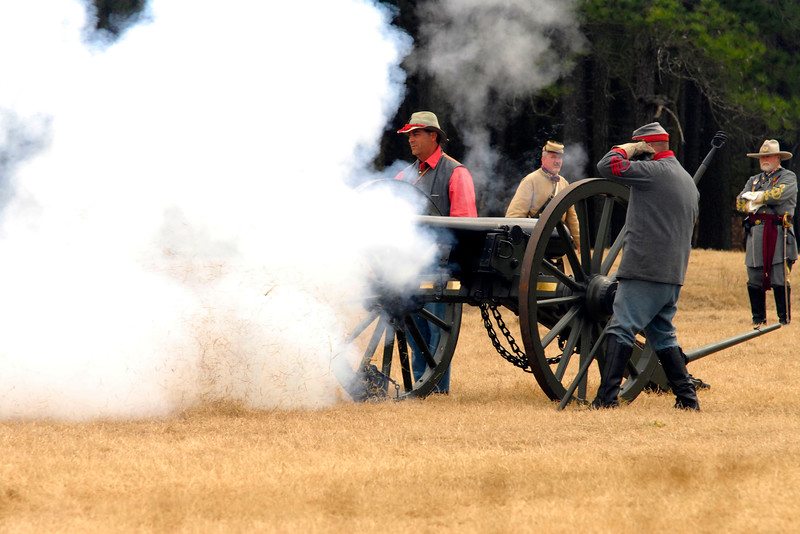 Smoke obscures an artillery position during the battle reenactment. The Skirmish at Gamble's Hotel happened on March 5, 1885 when 500 federal soldiers, under the command of Reuben Williams of the 12th Indiana Infantry, marched into Florence to destroy the railroad depot but were met by Confederate soldiers backed up with 400 militia. The reenactment, held by the 23rd South Carolina Infantry, was held at the Rankin Plantation in Florence, South Carolina on Saturday, March 5, 2011. Photo Copyright 2011 Jason Barnette