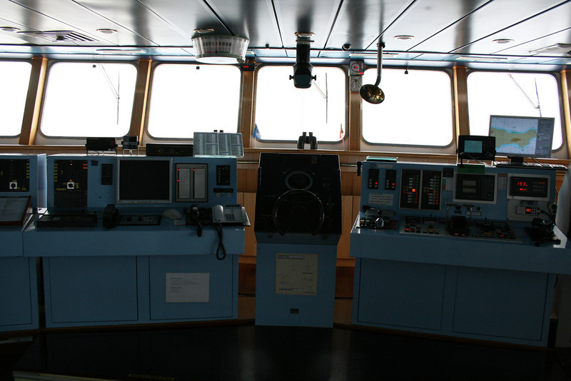 On board M/S ATHENA : the bridge, helm wheel.