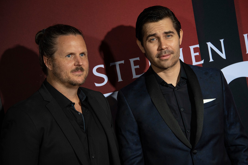 """LOS ANGELES, CALIFORNIA - OCTOBER 29: Andy Grush and Taylor Stewart attend the premiere of Warner Bros Pictures' """"Doctor Sleep"""" at Westwood Regency Theater on Tuesday October 29, 2019 in Los Angeles, California. (Photo by Tom Sorensen/Moovieboy Pictures,)"""