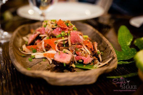 Maui Cattle Co. Beef Poke. #MalamaMaui media dinner at Travaasa Hāna's Ka'uiki Restaurant. © 2015 Sugar + Shake