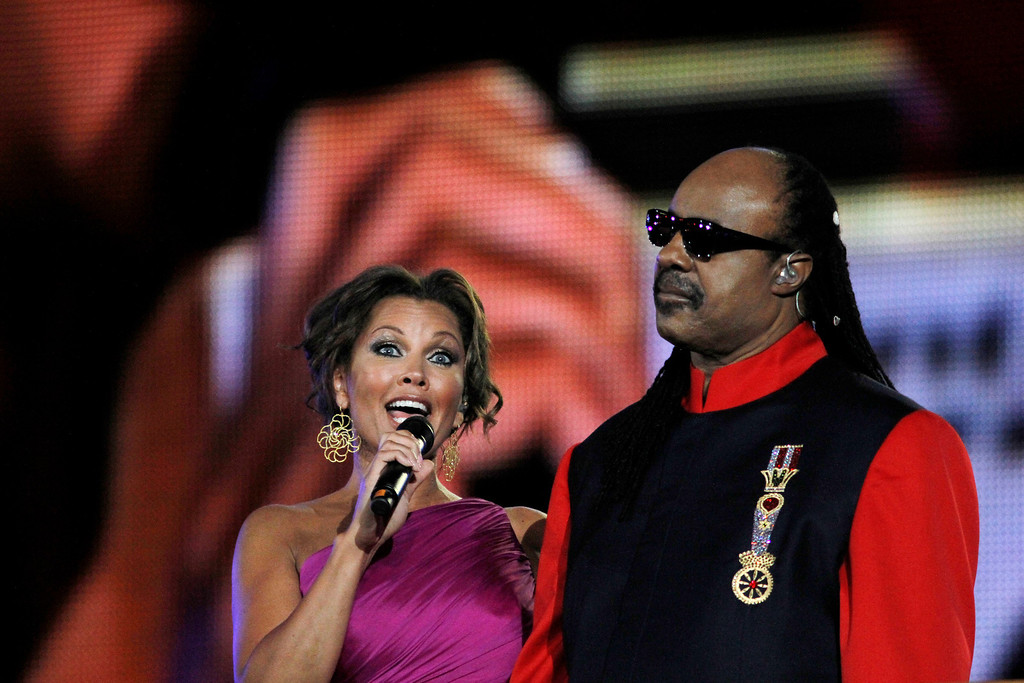 . U.S. singer and actress Vanessa Williams and U.S. singer and songwriter Stevie Wonder perform at the marble Panathinaikon stadium in Athens during the opening ceremony of the Special Olympics Athens 2011 World Games on  Saturday, June 25, 2011. More than 7,500 athletes with mental disabilities  from 185 countries will take part in the Special Olympics which begin Saturday and will end on July 4. (AP Photo/Kostas Tsironis)