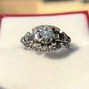 1.18ctw Art Deco Princess Halo Ring 8