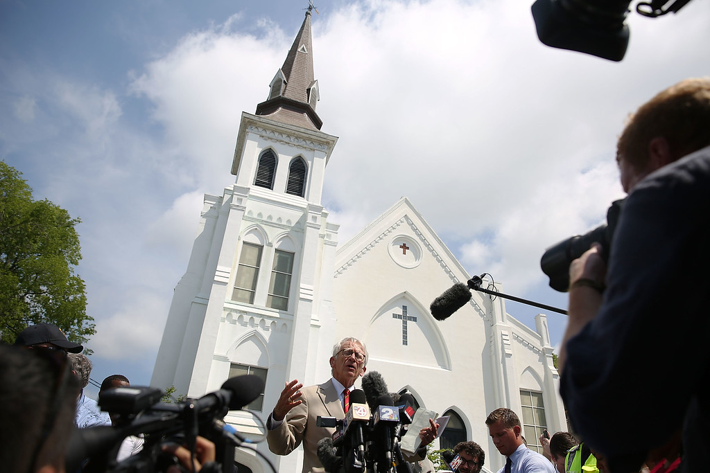 . Charleston Mayor Joseph Riley speaks to the media in front of the Emanuel African Methodist Episcopal Church after a mass shooting at the church that killed nine people on June 19, 2015 in Charleston, South Carolina. Dylann Roof, 21 years old, is suspected of killing nine people during a prayer meeting in the church, which is one of the nation\'s oldest black churches in Charleston.  (Photo by Joe Raedle/Getty Images)