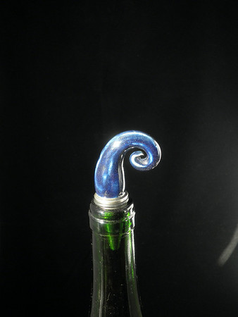 Wine Bottle Stopper - Blueberry Swirl - ceramic and stainless steel - one of a kind